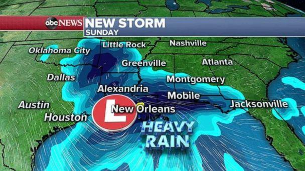 PHOTO: A new storm will develop in the southern U.S. as early as late Friday and Saturday and the initial impacts of this storm will be widespread heavy rain that will be moving across the southern U.S. this holiday weekend.   (ABC News)
