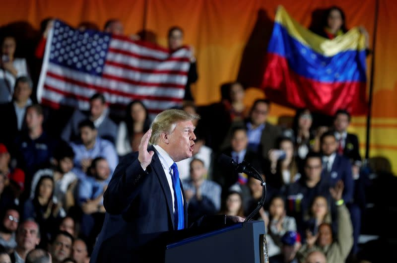 FILE PHOTO: U.S. President Donald Trump speaks about the crisis in Venezuela during a visit to Florida International University in Miami