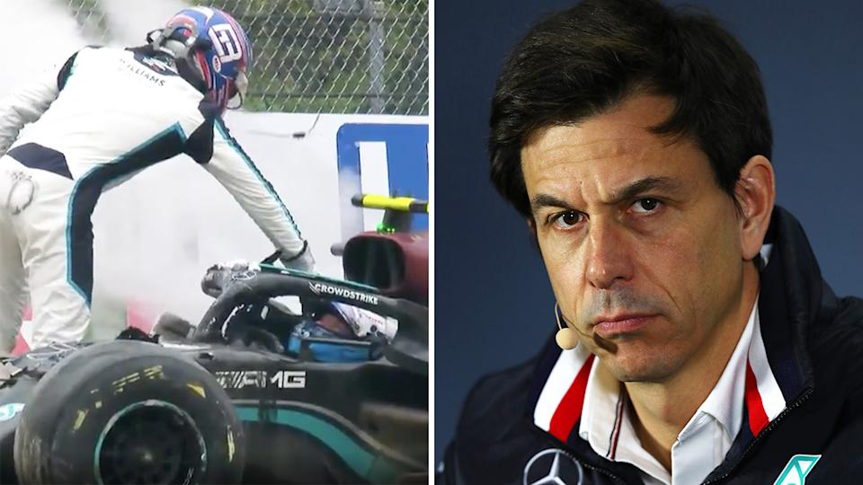 Mercedes boss was less than impressed with Williams driver George Russell after the British driver collided with Valtteri Bottas during the Emilia Romagna GP on Sunday. Pictures: F1/Getty Images