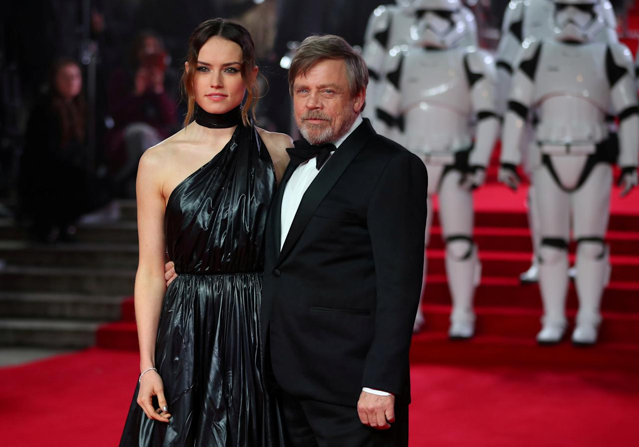 FILE PHOTO: Actors Daisy Ridley and Mark Hamill pose for photographers as they arrive for the European Premiere of 'Star Wars: The Last Jedi', at the Royal Albert Hall in central London, Britain December 12, 2017. REUTERS/Hannah McKay/File Photo