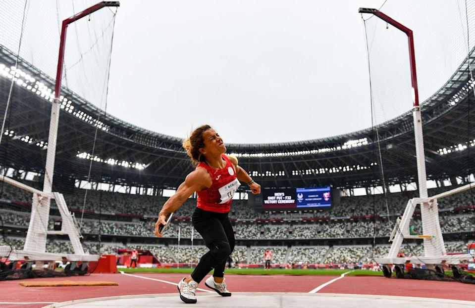 <p>Tunisia's Raoua Till won her sixth gold medal with an incredible final throw that pushed her from second place to gold medal status. Not only did she come from behind to win, she also broke the world record twice during the competition, ending with a 37.91 throw. </p>