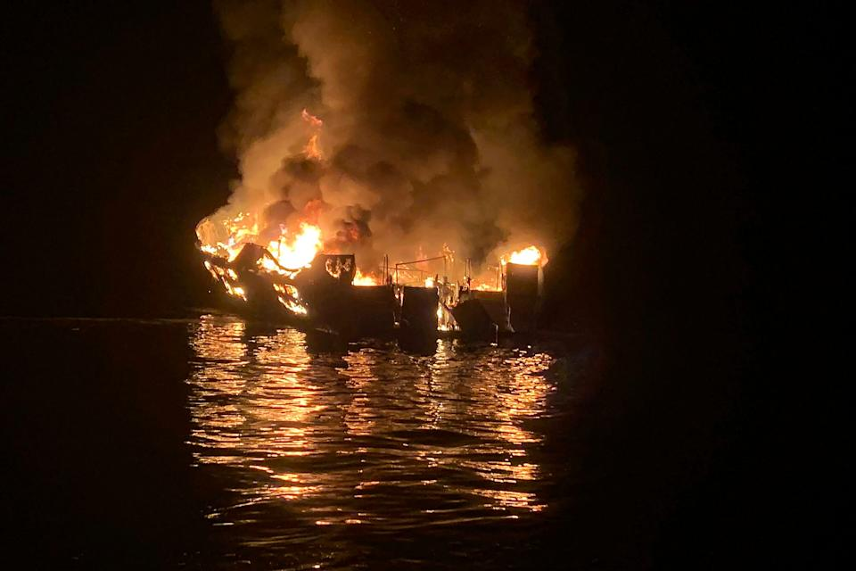 In this Sept. 2, 2019, file photo provided by the Santa Barbara County Fire Department, the dive boat Conception is engulfed in flames after a deadly fire broke out aboard the commercial scuba diving vessel off the Southern California Coast. The crew aboard a Southern California scuba dive boat had not been trained on emergency procedures before the deadly fire broke out last year, killing 34 people in one of the state's deadliest maritime disasters, according to federal documents released Wednesday, Sept. 16, 2020.