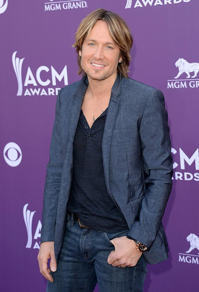 LAS VEGAS, NV - APRIL 07:  Musician Keith Urban arrives at the 48th Annual Academy of Country Music Awards at the MGM Grand Garden Arena on April 7, 2013 in Las Vegas, Nevada.  (Photo by Jason Merritt/Getty Images)