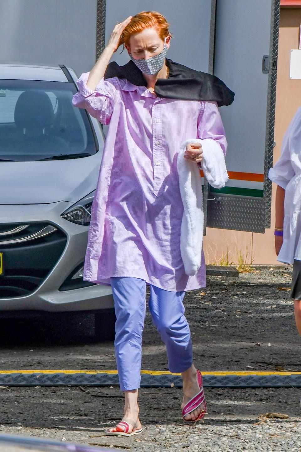 <p>Tilda Swinton goes bold with her ensemble (and hair!) on the Sydney, Australia, set of her new film, <em>Three Thousand Years of Longing.</em></p>