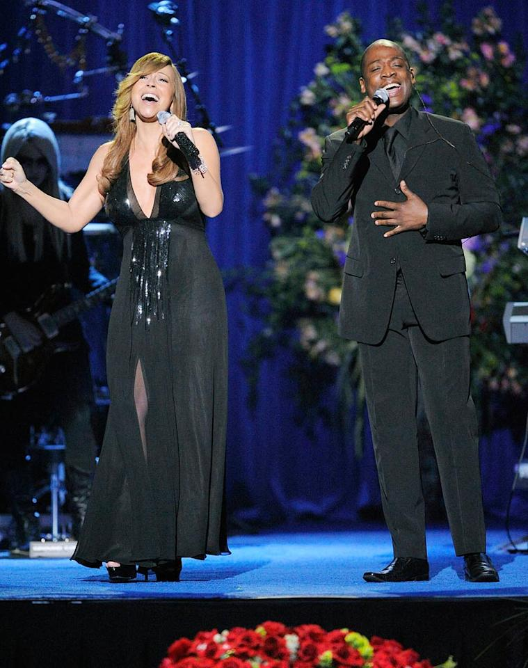 """Mariah Carey re-teamed with Trey Lorenz for a rousing duet of the Jackson 5 classic """"I'll Be There."""" The duo originally performed the song in 1992 during Mariah's award-winning """"MTV Unplugged"""" appearance. Mark Terrill-Pool/<a href=""""http://www.gettyimages.com/"""" target=""""new"""">GettyImages.com</a> - July 7, 2009"""