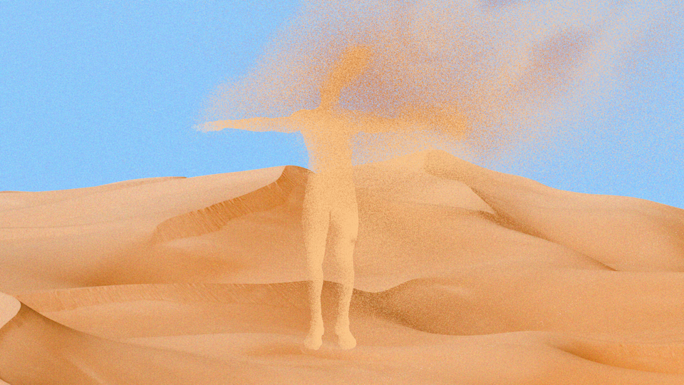 Man on top of sand dune in the desert rejoicing, Wahiba sands, Oman