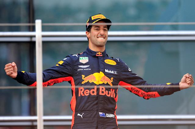 Formula One F1 - Chinese Grand Prix - Shanghai International Circuit, Shanghai, China - April 15, 2018 Red Bull's Daniel Ricciardo celebrates winning the race REUTERS/Aly Song