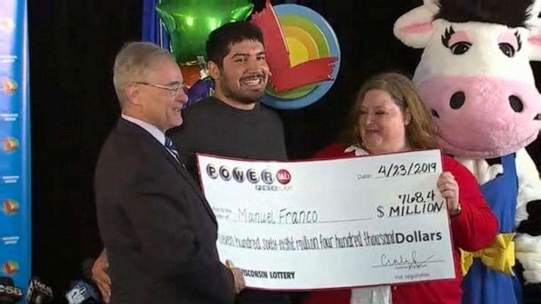 PHOTO: Manuel Franco of West Allis, Wis., is named the winner of a $768 million Powerball jackpot during a press conference in Madison, Wis., April 23, 2019. (WITI-FOX)