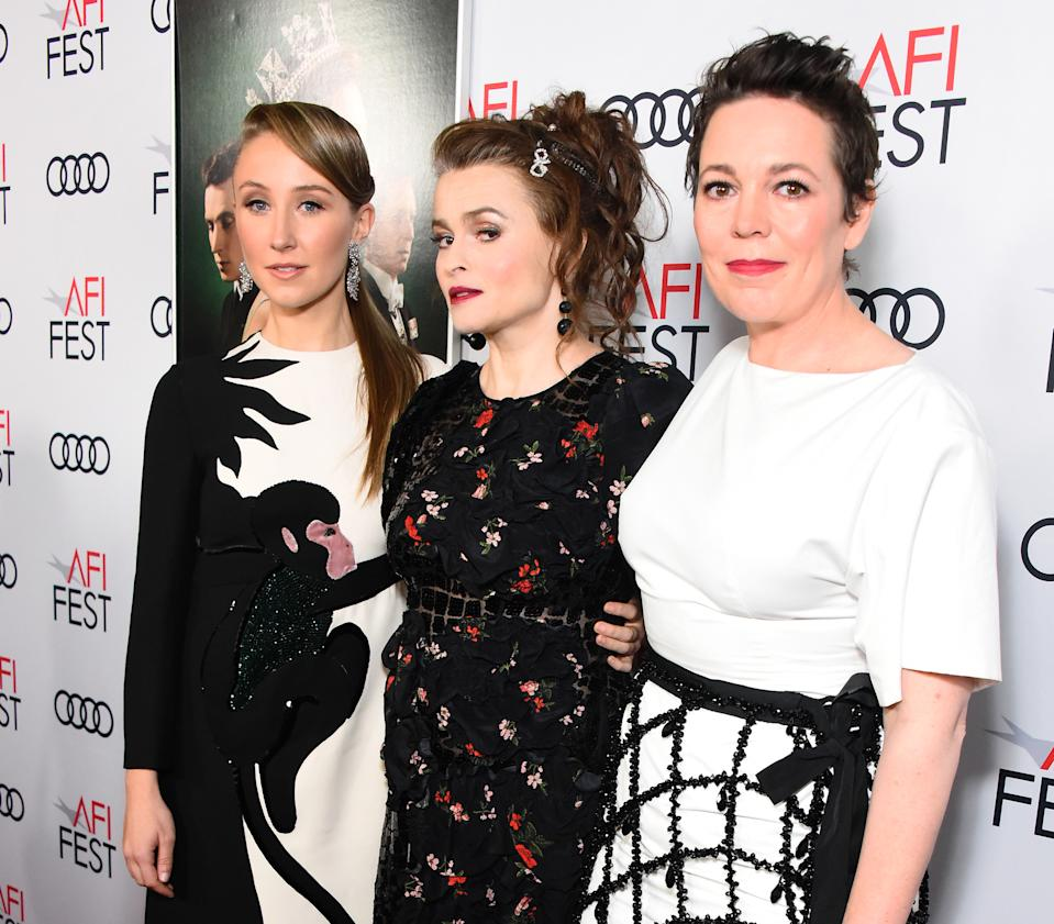 Erin Doherty, Helena Bonham Carter, and Olivia Colman who play Princess Anne, Princess Margaret and the Queen. (Getty Images for Netflix)