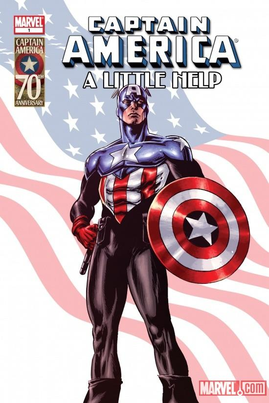 """In this undated publicity image released by Marvel Entertainment, Captain America is shown on the cover of a story dedicated to suicide, """"Captain America: A Little Help,"""" released for free Wednesday, Jan. 12, 2011, on the Marvel Entertainment website and app. The 11-page story is written by psychologist Tim Ursiny, and illustrated by Nick Dragotta. (AP Photo/Marvel Entertainment)"""