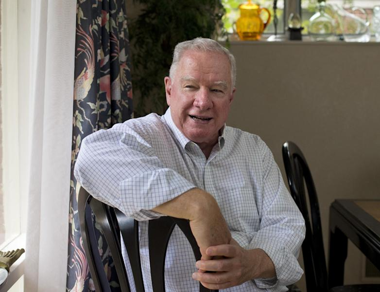 Dr. Paul Wilson, 80, a retired psychiatrist, recounts stories from his life which have become part of a memoir to share with his grandchildren about what his life was like, at his home in Bethesda, Md., Thursday, Oct. 4, 2012. Wilson expects his memoir to be roughly 60 pages when completed, plus some photographs and newspaper articles. He's considering having it self-published to produce a more polished final product. (AP Photo/J. Scott Applewhite)
