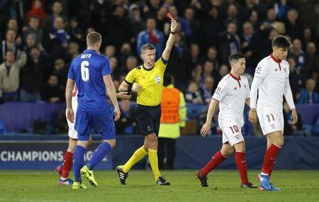 Britain Soccer Football - Leicester City v Sevilla - UEFA Champions League Round of 16 Second Leg - King Power Stadium, Leicester, England - 14/3/17 Sevilla's Samir Nasri is shown a red card by referee Daniele Orsato Reuters / Darren Staples Livepic