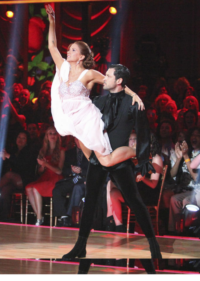 "Melissa Gilbert and Maksim Chmerkovskiy perform on ""Dancing with the Stars."""
