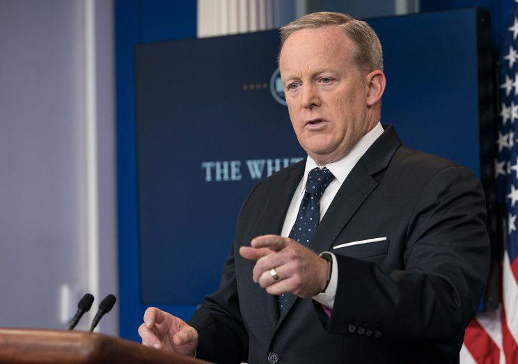 White House spokesman Sean Spicer takes a question at a press briefing at the White House in Washington, D.C. on June 20, 2017.