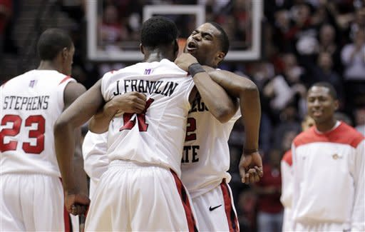 San Diego State's Chase Tapley, second from right, embraces teammate Jamaal Franklin, (21) after Franklin scored against UNLV in the second half of an NCAA college basketball game Saturday, Jan. 14, 2012, in San Diego. San Diego State won 69-67. (AP Photo/Gregory Bull)