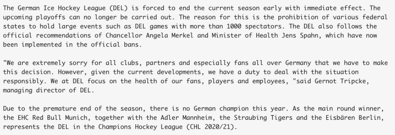 Official statement from the DEL, via Google Translate. (Twitter/DELoffiziell)