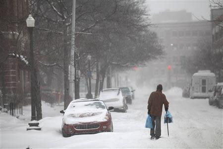 A man uses his cane to navigate a snow covered road in Detroit, Michigan January 2, 2014. REUTERS/Joshua Lott