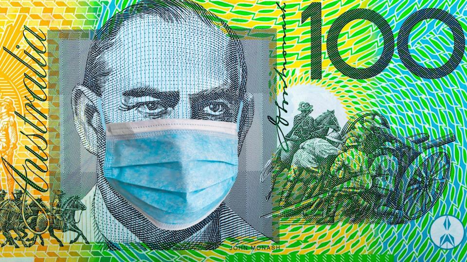 Australian $100 note with Sir John Monash wearing computer-generated COVID-19 face mask.