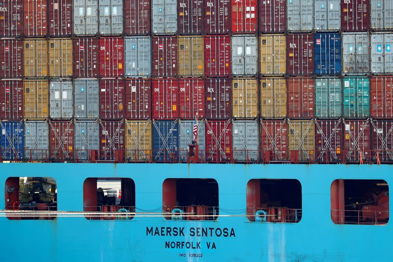 FILE PHOTO: Containers are seen stacked up on a Maersk Sentosa container ship at the port of Antwerp