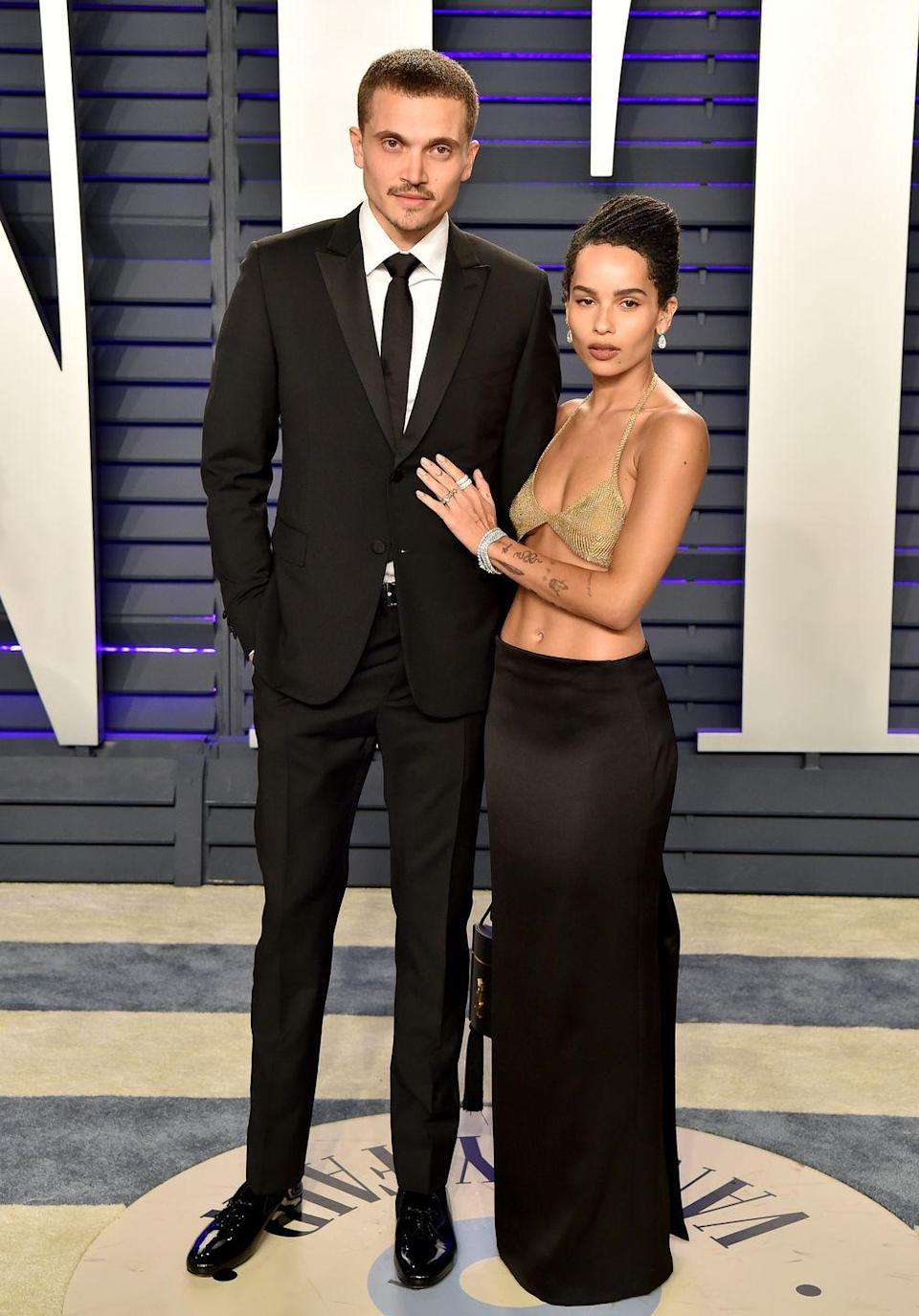 """<p><strong>How long they've been together:</strong> Kravitz and Glusman were introduced in 2016 by mutual friends. She was smitten from the start and the two have shared sweet love notes on <a href=""""https://www.instagram.com/p/BVDdv96g9ni/?utm_source=ig_embed"""" rel=""""nofollow noopener"""" target=""""_blank"""" data-ylk=""""slk:Instagram"""" class=""""link rapid-noclick-resp"""">Instagram</a> that melt our hearts. </p><p><strong>Why you forgot they're together:</strong> The pair is insanely low-key. We barely knew about they were thinking of tying the knot before they surprised everyone with a wedding <a href=""""https://www.marieclaire.com/celebrity/a24427486/who-is-karl-glusman-zoe-kravtiz-engaged/"""" rel=""""nofollow noopener"""" target=""""_blank"""" data-ylk=""""slk:announcement"""" class=""""link rapid-noclick-resp"""">announcement</a> in May of 2019. </p>"""