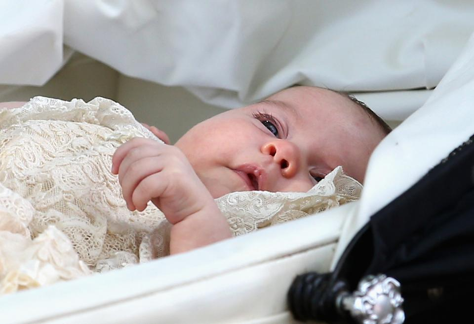 KING'S LYNN, ENGLAND - JULY 05:  Princess Charlotte of Cambridge is pushed in her silver cross pram as she leavesthe Church of St Mary Magdalene on the Sandringham Estate for the Christening of Princess Charlotte of Cambridge on July 5, 2015 in King's Lynn, England.  (Photo by Chris Jackson/Getty Images)