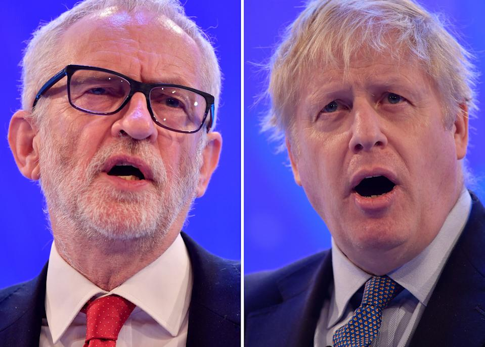 A combination of pictures created in London on November 18, 2019 shows Britain's Prime Minister and Conservative Party leader Boris Johnson (R) and Britain's main opposition Labour Party leader Jeremy Corbyn (L) giving speeches during their general election campaigns. - Britain will go to the polls on December 12, 2019 to vote in a pre-Christmas general election. (Photo by Ben STANSALL / AFP) (Photo by BEN STANSALL/AFP via Getty Images)
