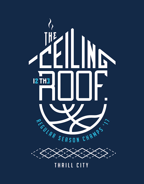 """Thrill City's take on """"the ceiling is the roof"""" t-shirts. Photo courtesy of Ryan Cocca."""