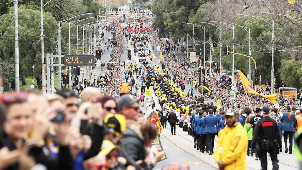 AFL fans, pictured here during the 2019 grand final parade.
