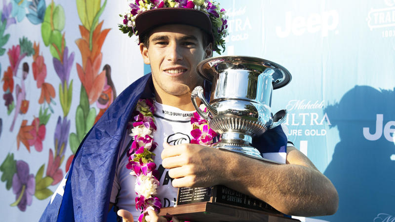 Jack Robinson, pictured here after winning the 2019 Vans World Cup of Surfing.