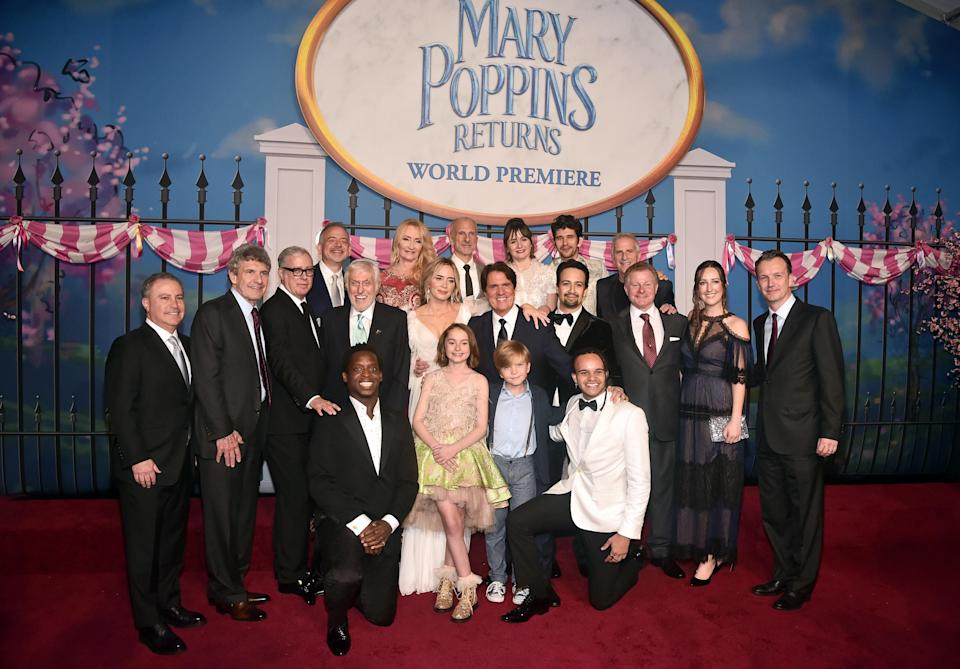 Blunt posing with fellow cast members from 'Mary Poppins Returns'. [Photo: Getty]