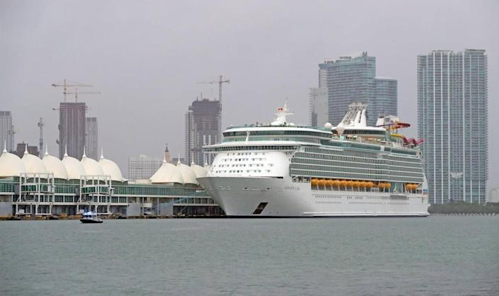 A cruise ship is seen docked at the Port of Miami on Wednesday, October 21, 2020.