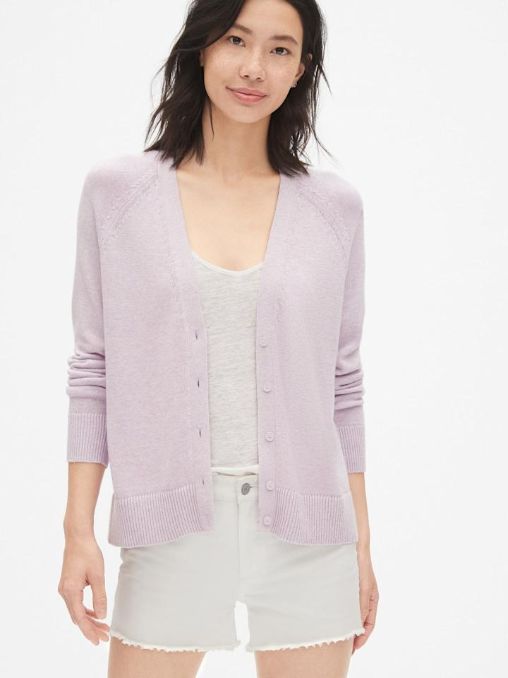 "<p>This beautiful <a href=""https://www.popsugar.com/buy/Gap-V-Neck-Button-Front-Cardigan-Sweater-476729?p_name=Gap%20V-Neck%20Button-Front%20Cardigan%20Sweater&retailer=gap.com&pid=476729&price=25&evar1=fab%3Aus&evar9=46467705&evar98=https%3A%2F%2Fwww.popsugar.com%2Fphoto-gallery%2F46467705%2Fimage%2F46467720%2FGap-V-Neck-Button-Front-Cardigan-Sweater&list1=shopping%2Cgap%2Ccurve%2Csummer%20fashion%2Ccurve%20fashion&prop13=api&pdata=1"" rel=""nofollow"" data-shoppable-link=""1"" target=""_blank"" class=""ga-track"" data-ga-category=""Related"" data-ga-label=""https://www.gap.com/browse/product.do?pid=468122012&amp;pcid=999#pdp-page-content"" data-ga-action=""In-Line Links"">Gap V-Neck Button-Front Cardigan Sweater</a> ($25, originally $40) is so on trend.</p>"