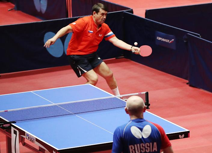 Russian presidential aide Igor Levitin takes part in a VIP tournament as part of the 2020 Russian Table Tennis Championship at the Chertanovo sports complex. (Photo by Mikhail Tereshchenko\TASS via Getty Images)