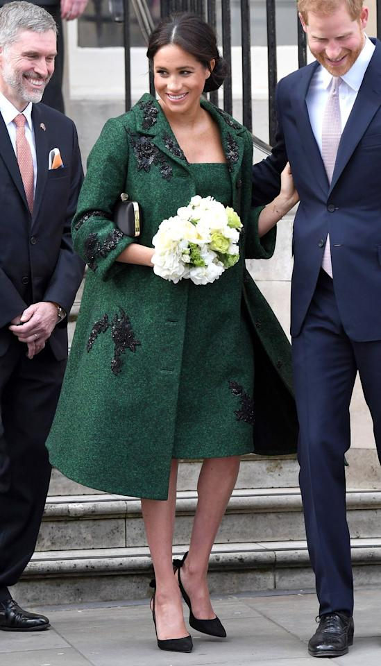 "<p><strong>11 March </strong>Meghan chose an emerald green Erdem coat for <a href=""https://www.harpersbazaar.com/uk/culture/culture-news/a26781128/meghan-harry-world-commonwealth-day/"" target=""_blank"">World Commonwealth Day</a>. <strong></strong></p>"