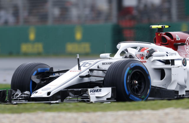 Sauber driver Charles Leclerc of Monaco turns in a corner during the practice session at the Australian Formula One Grand Prix in Melbourne, Saturday, March 24, 2018. The first race of the 2018 seasons is on Sunday. (AP Photo/Asanka Brendon Ratnayake)
