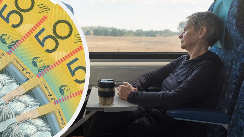 Pictured: Australian pensioner on train, Australian cash. Images: Getty