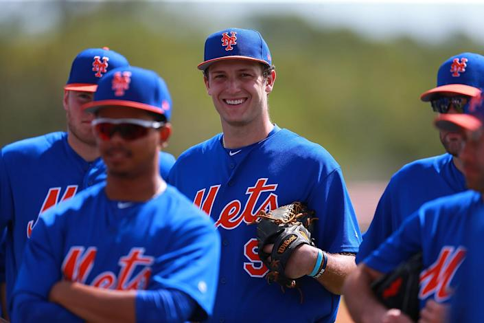 <p>New York Mets prospect Gabriel Llanes smiles during a pitchers' meeting at the New York Mets spring training facility in Port St. Lucie, Fla., Wednesday, March 1, 2017. (Gordon Donovan/Yahoo Sports) </p>
