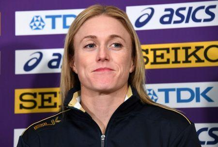 Mar 1, 2018; Birmingham, United Kingdom; Sally Pearson (AUS) looks on during an IAAF World Indoor Championships press conference at the Hyatt Regency Birmingham. Mandatory Credit: Kirby Lee-USA TODAY Sports
