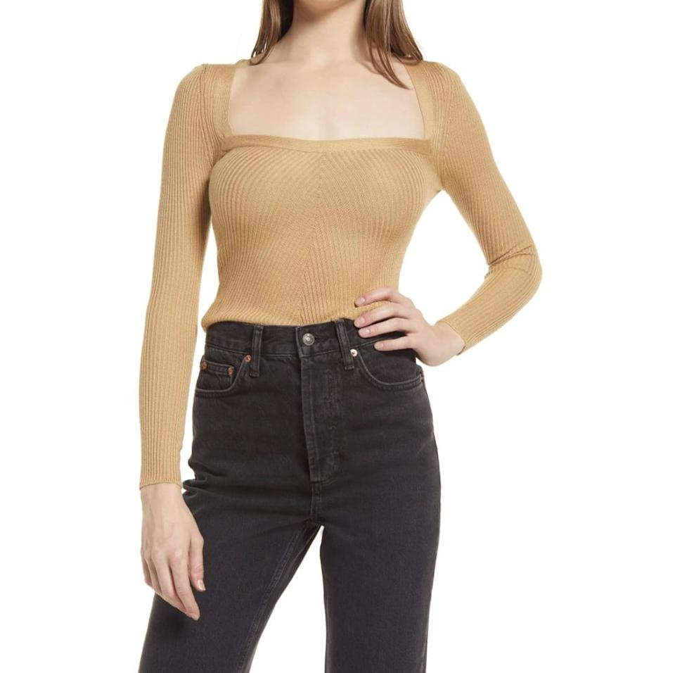 <p>There's something so sweet about the look and fit of this <span>Topshop Square Neck Rib Sweater</span> ($30). We especially love the square neck and luxe-looking fabric.</p>