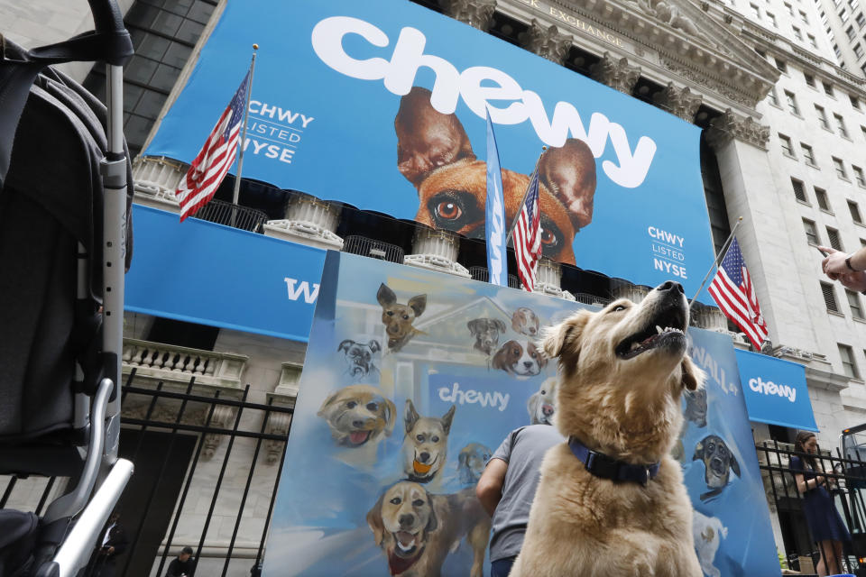 Local dog Frankie poses for photos outside the New York Stock Exchange, decorated for the Chewy IPO, Friday, June 14, 2019. Chewy, the online seller of pet food and squeaky toys, went public Friday and its shares soared 71%. (AP Photo/Richard Drew)