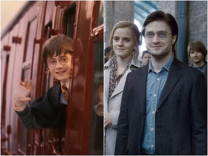 Last scenes of first and last Harry Potter movies