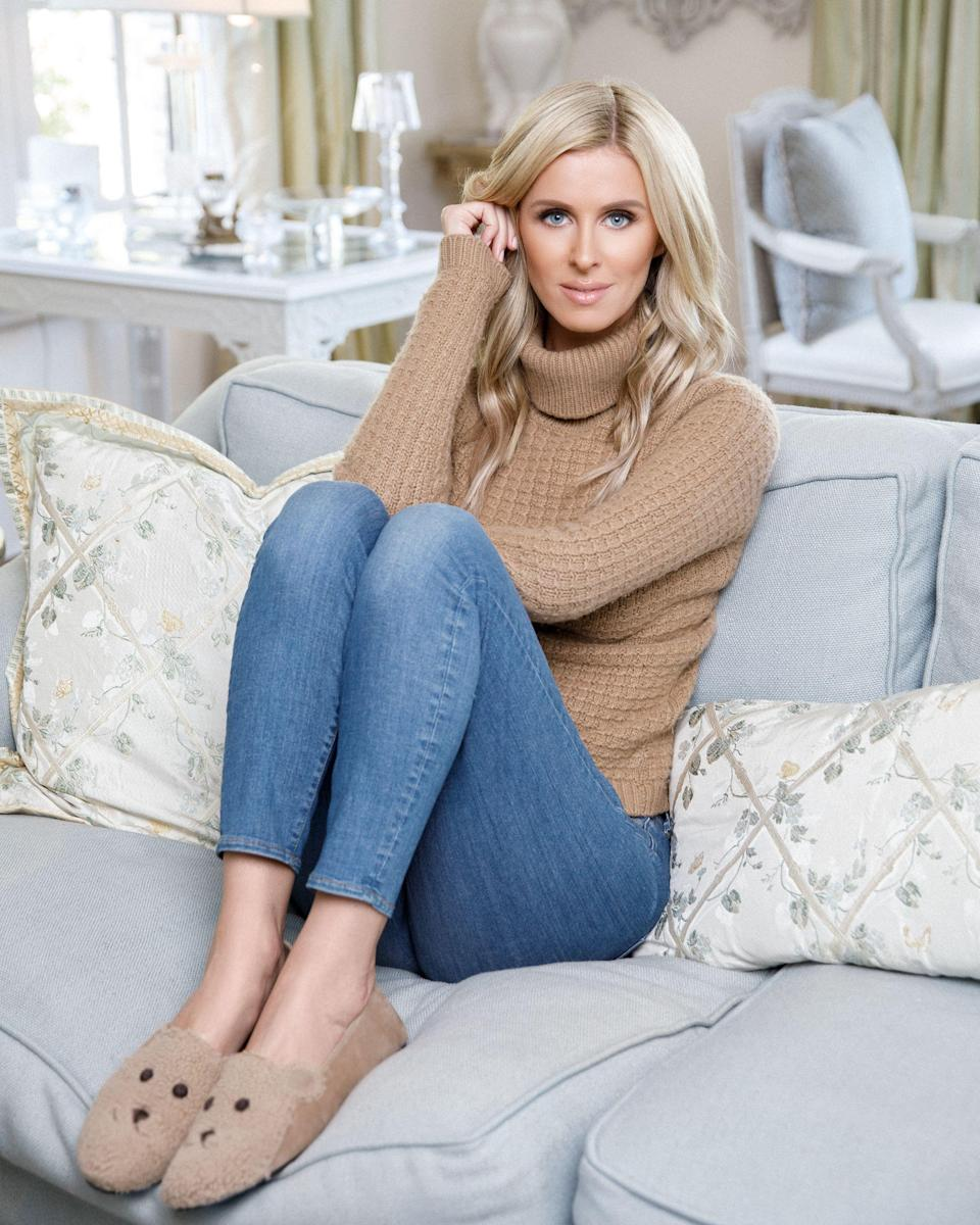 """<p>frenchsoleshoes.com</p><p><strong>$185.00</strong></p><p><a href=""""https://frenchsoleshoes.com/collections/nickyhilton/products/teddy-beige-suede"""" rel=""""nofollow noopener"""" target=""""_blank"""" data-ylk=""""slk:Shop Now"""" class=""""link rapid-noclick-resp"""">Shop Now</a></p><p>This shoe, Nicky says, is a play on her Teddy coat obsession. """"It's a shearling loafer, and there's a little Teddy face and people ask me, 'Are these meant to be worn outdoors?' And I think absolutely,"""" she says. """"Yes, they could be a house shoe, but I've definitely been running around in them with skinny jeans or leather leggings.""""</p>"""