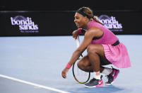 United States' Serena Williams reacts after defeating compatriot Danielle Collins during a tuneup event ahead of the Australian Open tennis championships in Melbourne, Australia, Friday, Feb. 5, 2021.(AP Photo/Andy Brownbill)