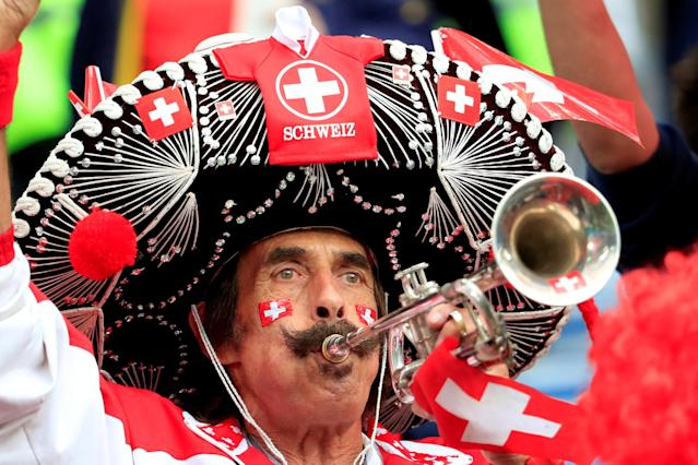 Soccer Football - World Cup - Group E - Serbia vs Switzerland - Kaliningrad Stadium, Kaliningrad, Russia - June 22, 2018 A Switzerland fan before the match REUTERS/Gonzalo Fuentes TPX IMAGES OF THE DAY