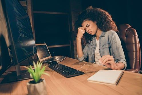 """<span class=""""caption"""">'Workaholics' are driven to work excessively.</span> <span class=""""attribution""""><a class=""""link rapid-noclick-resp"""" href=""""https://www.shutterstock.com/image-photo/profile-side-photo-depressed-stressed-afro-1702515196"""" rel=""""nofollow noopener"""" target=""""_blank"""" data-ylk=""""slk:Roman Samborskyi/ Shutterstock"""">Roman Samborskyi/ Shutterstock</a></span>"""