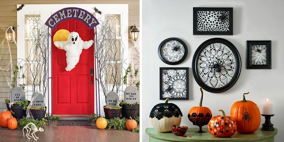 """<p>It's never too early to start preparing your Halloween decorations for the upcoming fall. After all, it takes a lot of work to get your house to be the perfect amount of scary yet stylish. Whether you keep the spooky decor to a minimum or give your home a complete Halloween makeover, this roundup of easy Halloween decorations will give you plenty of DIY options to fit all your Halloween needs.</p><p><a href=""""https://www.womansday.com/home/crafts-projects/g950/funny-pumpkin-carving-ideas/"""" rel=""""nofollow noopener"""" target=""""_blank"""" data-ylk=""""slk:Carve creepy pumpkins"""" class=""""link rapid-noclick-resp"""">Carve creepy pumpkins</a> with stencil options and templates galore. Create frightening door decor with cutout ghosts, goblins, and more that are sure to give any party guest or trick-or-treater a little scare. There are even simple tips to creating antique looking candles, flying felt bats, and even spider-hiding soap bars. And many of these DIY Halloween decorations can be made from household items you have lying around, so no need to worry about dropping a chunk of change. Be the talk of the town this Halloween and the best-dressed house in your neighborhood with any of these decoration ideas. </p>"""
