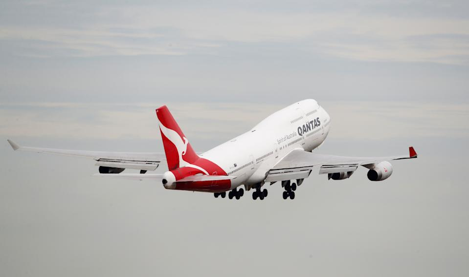 A Qantas Boeing 747-400 plane takes off at Kingsford Smith International Airport in Sydney, Australia, February 22, 2018. REUTERS/Daniel Munoz