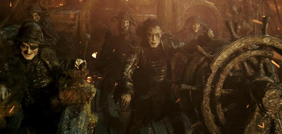 <p>Captain Salazar (Javier Bardem) leads a ghost crew in 'Pirates of the Caribbean: Dead Men Tell No Tales' (Photo: Disney)<br><br> </p>  <p>Depp's Charge</p><p> Johnny Depp reprises his Oscar-nominated role as Captain Jack Sparrow in 'Pirates of the Caribbean: Dead Men Tell No Tales' (Photo: Disney)<br><br> </p>  <p>Bottle Cap'n</p><p> Johnny Depp as Captain Jack Sparrow in 'Pirates of the Caribbean: Dead Men Tell No Tales' (Photo: Disney)<br> </p>  <p>The Way We Were</p><p> Javier Bardem as Captain Salazar in a flashback scene from 'Pirates of the Caribbean: Dead Men Tell No Tales' (Photo: Disney) </p>  <p>The Walking Dread</p><p> The undead Captain Salazar (Javier Bardem) in 'Pirates of the Caribbean: Dead Men Tell No Tales' (Photo: Disney) </p>  <p>Back In Ship Shape</p><p> Javier Bardem as the living Captain Salazar in 'Pirates of the Caribbean: Dead Men Tell No Tales' (Photo: Disney)<br> </p>  <p>Message in a Bottle?</p><p> An image from 'Pirates of the Caribbean: Dead Men Tell No Tales' (Photo: Disney)<br><br><br> </p>  <p>Heat Wave</p><p> A spooky Javier Bardem as Captain Salazar in 'Pirates of the Caribbean: Dead Men Tell No Tales' (Photo: Disney)<br><br> </p>  <p>Sweet Bird of Youth</p><p> Captain Jack Sparrow (Johnny Depp) in a flashback scene, made young with the help of CGI in 'Pirates of the Caribbean: Dead Men Tell No Tales' (Photo: Disney)<br><br><br> </p>  <p>Cool vs. Ghoul</p><p> Geoffrey Rush as Barbossa (left) faces off with Javier Bardem as Captain Salazar in 'Pirates of the Caribbean: Dead Men Tell No Tales' (Photo: Disney)<br><br> </p>  <p>Keep Your Eye on the Sparrow</p><p> Johnny Depp as Captain Jack Sparrow in 'Pirates of the Caribbean: Dead Men Tell No Tales' (Photo: Disney)<br><br> </p>  <p>The New Recruit</p><p> Brenton Thwaites plays Henry, a young sailor, in 'Pirates of the Caribbean: Dead Men Tell No Tales' (Photo: Disney)<br><br> </p>