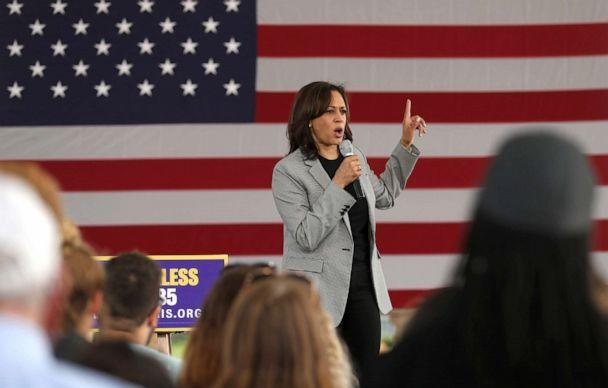PHOTO: Democratic presidential hopeful U.S. Sen Kamala Harris speaks during a campaign rally, Aug. 8, 2019, in Sioux City, Iowa. (Justin Sullivan/Getty Images)
