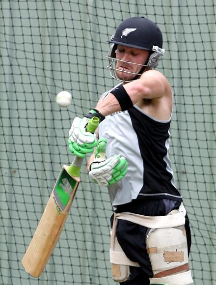 PERTH, AUSTRALIA - DECEMBER 06: Brendon McCullum of the Black Caps bats during a New Zealand Black Caps nets session at the WACA on December 6, 2007 in Perth, Australia.  (Photo by Paul Kane/Getty Images) *** Local Caption *** Brendon McCullum